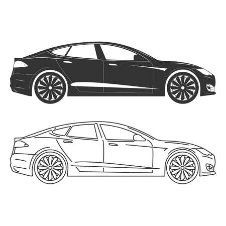 car side: Silhouette of electric car Side view Flat Outline.