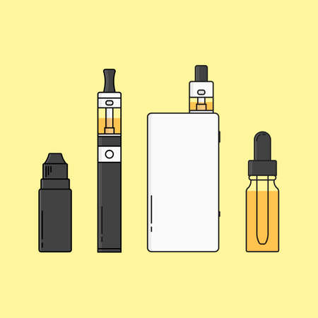 glycerin: illustration of devices for vape. Outline isolated.