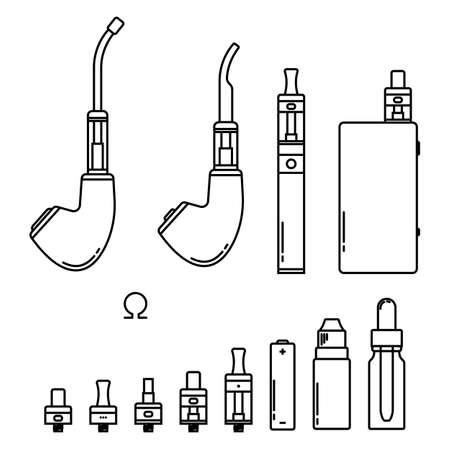 eliquid: illustration of devices for vape. Outline isolated on white Illustration