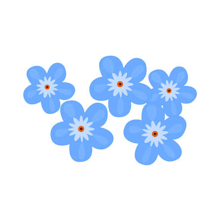 Flowers Bouquet of blue flowers, vector illustration Illustration