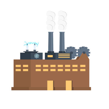 Power plant. Industrial plant. Vector illustration