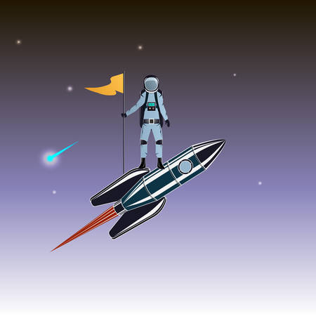 Astronaut travels on a rocket. Spacemen and missile. Space Vector illustration