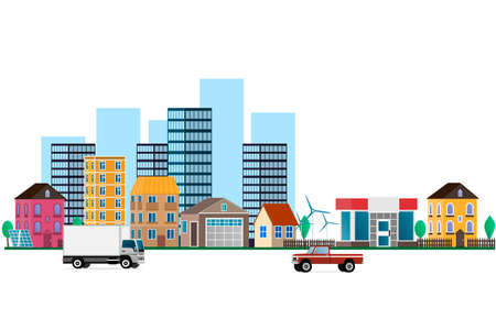A city with urban buildings. Street, highway with cars. Vector illustration Ilustracja