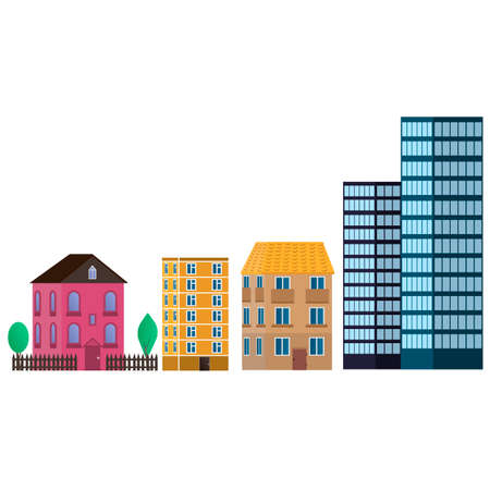 Buildings in the city. House, cottage, Palace, skyscraper. Vector graphics Иллюстрация