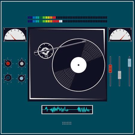 DJ console. Music control panel. Vector illustration