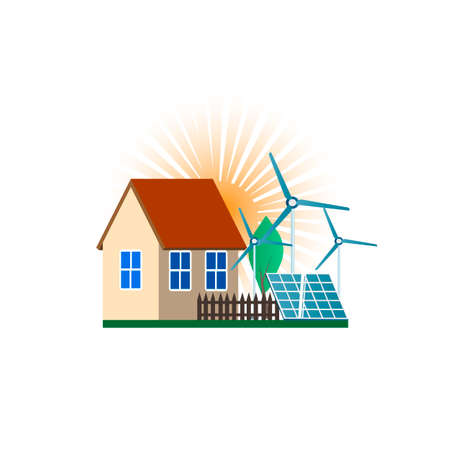 Green energy and eco friendly house. Solar panel and windmill. Vector illustration