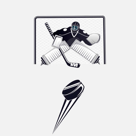 Hockey. A hockey goalie on the goal kicks the puck. Vector illustration