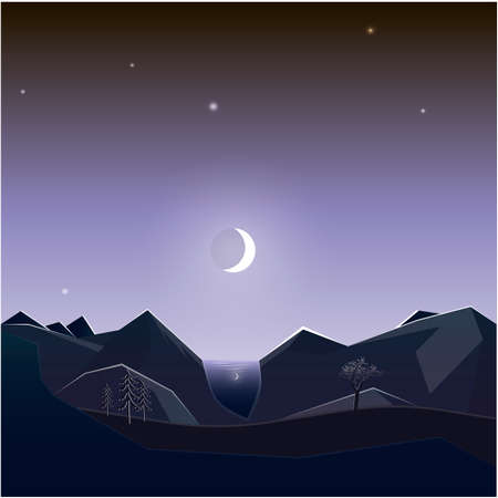 Night landscape of mountains. Mountain lake. The fleet landscape. Vector illustration