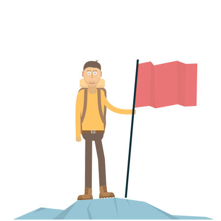 A man with a flag on top of a mountain. Achievement, vector illustration Иллюстрация