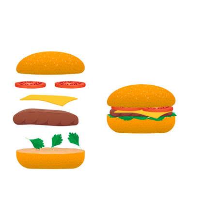 Sandwich Fast food, vector illustration Ilustracja