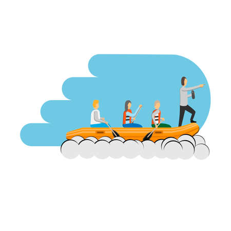 Leader in the team. Rowers in a boat. Vector illustration