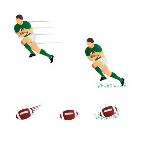 A Rugby player with a ball. A game of Rugby. Vector illustration