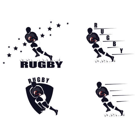 Emblem of a Rugby player with a ball. A game of Rugby. Vector illustration