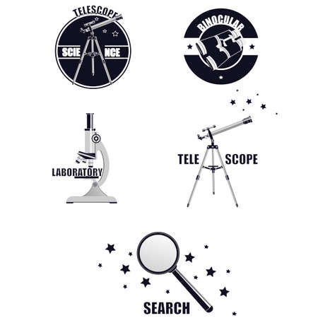 The emblem of the optical devices. Telescope, binoculars, microscope, magnifying glass, vector illustration