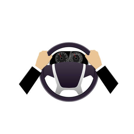 Car dashboard. Transport The wheel of a car. Vector illustration
