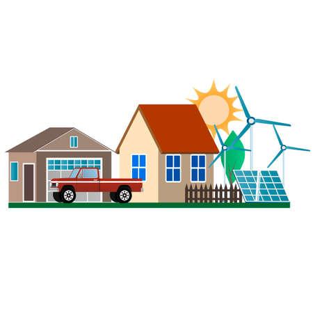 Farm. Green energy and eco friendly house. Vector illustration