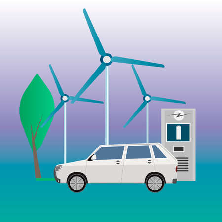 Electric car on charge. Wind farm. Vector illustration
