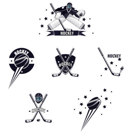 Hockey emblem. Hockey goalie, puck and stick. Vector illustration