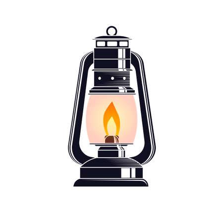 Lamp. The lantern emits light. Vector illustration