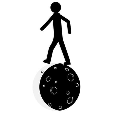 A man walks on the moon. The silhouette of a man. Vector illustration