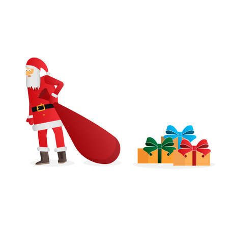Santa claus. Santa Claus with a bag and gifts. Holiday Vector illustration Ilustração