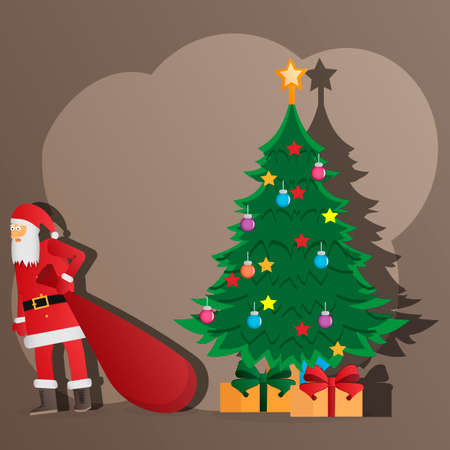 Santa claus. Santa Claus with a bag. Santa leaves gifts under the Christmas tree. Holiday Christmas card. Vector illustration