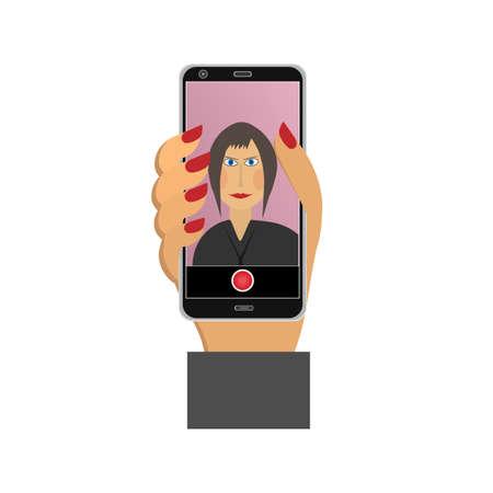 Selfie Using a smartphone. Vector illustration Ilustrace