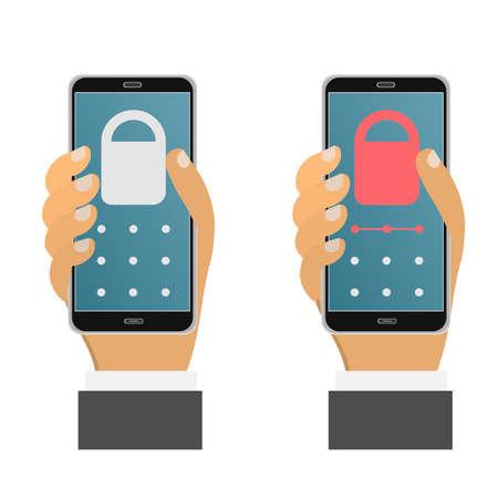 Smartphone security. Using a smartphone. Vector illustration Ilustração