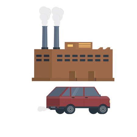 Air pollution. Exhaust gases, vector illustration
