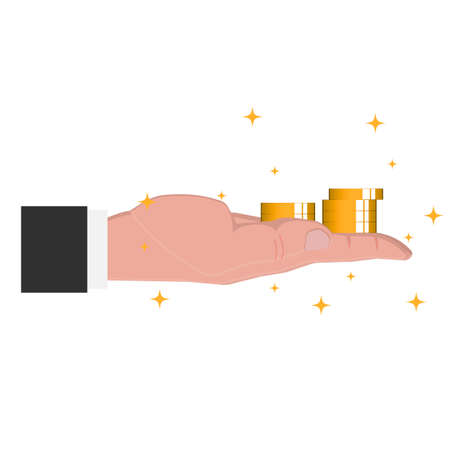 Money and Finance. Gold coins, in hand, vector illustration Ilustrace