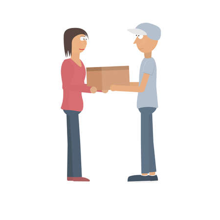 The delivery man delivers the parcel. Receiving a parcel. Delivery, vector illustration