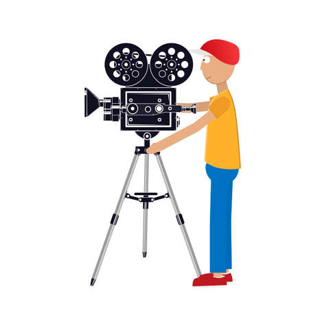 Videographer. Cameraman takes pictures. Vector illustration 向量圖像