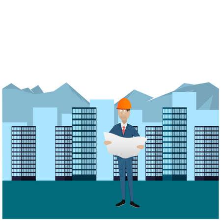 Engineer building. Construction of buildings. Vector illustration