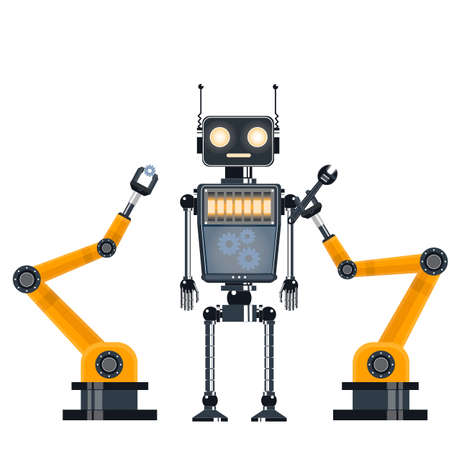 Repair of the robot. Industrial robot. Vector illustration