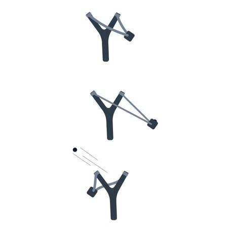 Slingshot. Shooting a slingshot. Vector illustration
