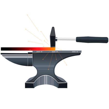 Smithy. Hammer and anvil. Vector Illustration