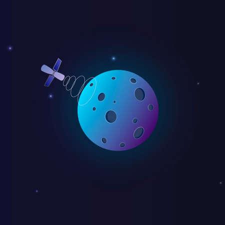 Space satellite. A spacecraft orbiting the planet earth. Vector illustration Ilustração