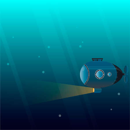 Submarine The submarine explores the ocean. Vector illustration