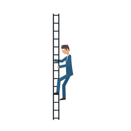 Climb the stairs. Businessman, vector illustration