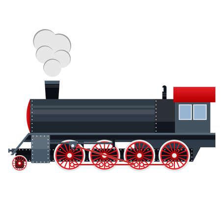 Locomotive. Train, vehicle. Vector illustration Vettoriali