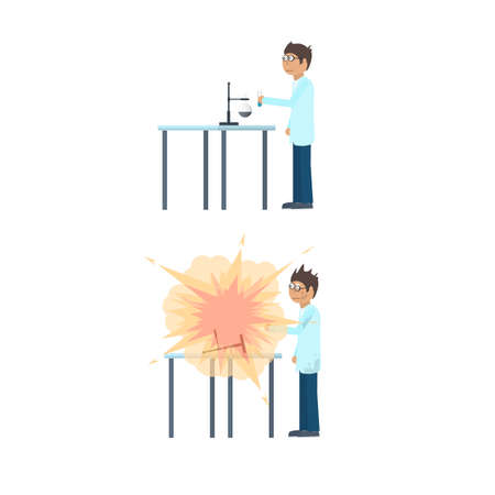 Chemical experiment. Explosion in the laboratory. Experience, vector illustration Vettoriali