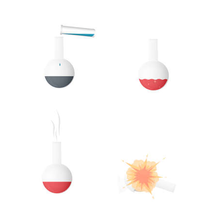 Chemical reaction. Experiments with reagents, vector illustration