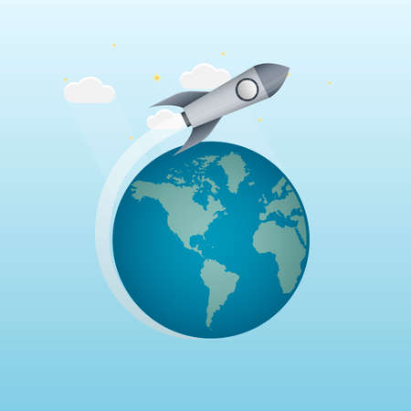Launch of a space rocket. The spaceship is flying. Planet earth, vector illustration Vettoriali