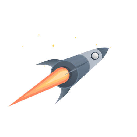 Space rocket. The flight of the rocket, vector illustration
