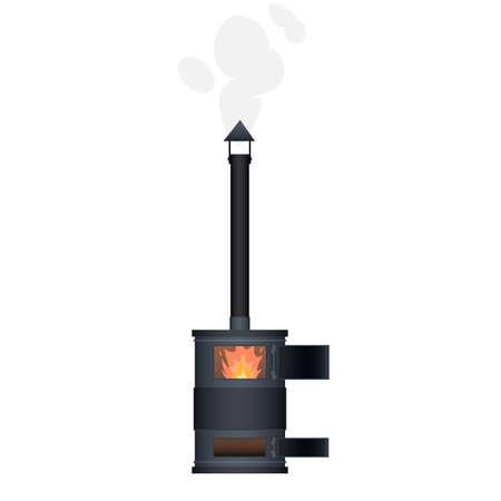 Wood stove. Heating, vector illustration