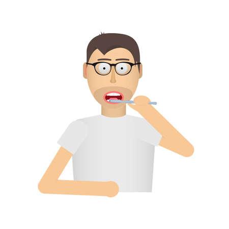A man brushes his teeth. Brush teeth. Hygiene, vector illustration Reklamní fotografie - 149551252