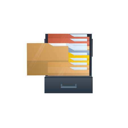 File Search for document files. Card file, vector illustration Ilustrace