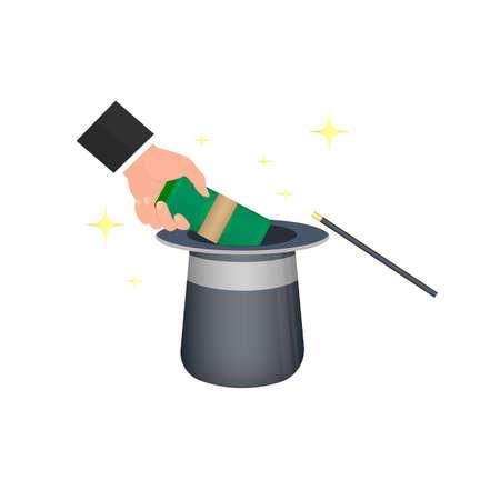 Profit Capital. Magic hat, vector illustration Reklamní fotografie - 149551258