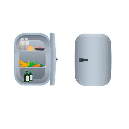 Fridge. Refrigerator with food, vector illustration Ilustrace