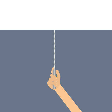 The transition curtain. Pull the switch. Transformation, vector illustration